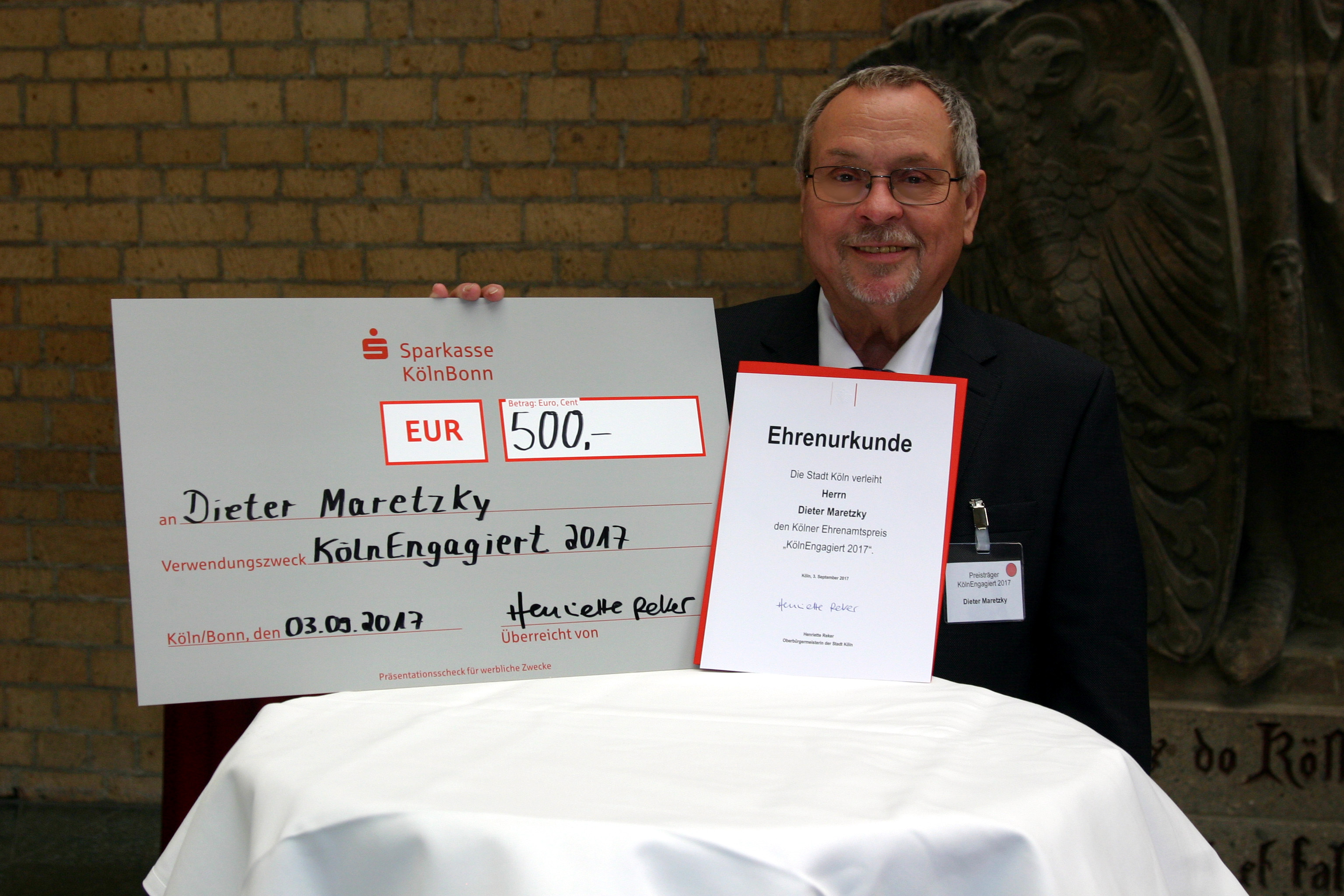 Dieter Maretzky mit dem Ehrenamtspreis ausgezeichnet