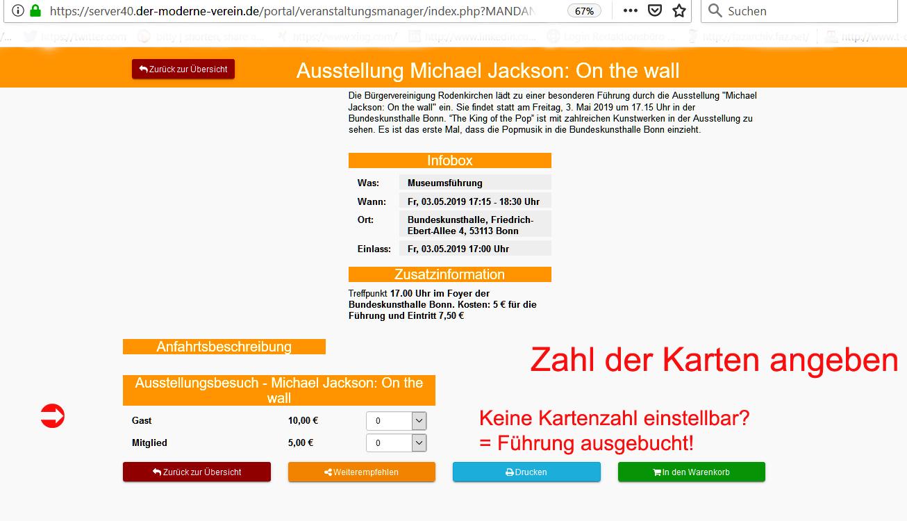 In eigener Sache: Online-Anmeldeverfahren Veranstaltungen