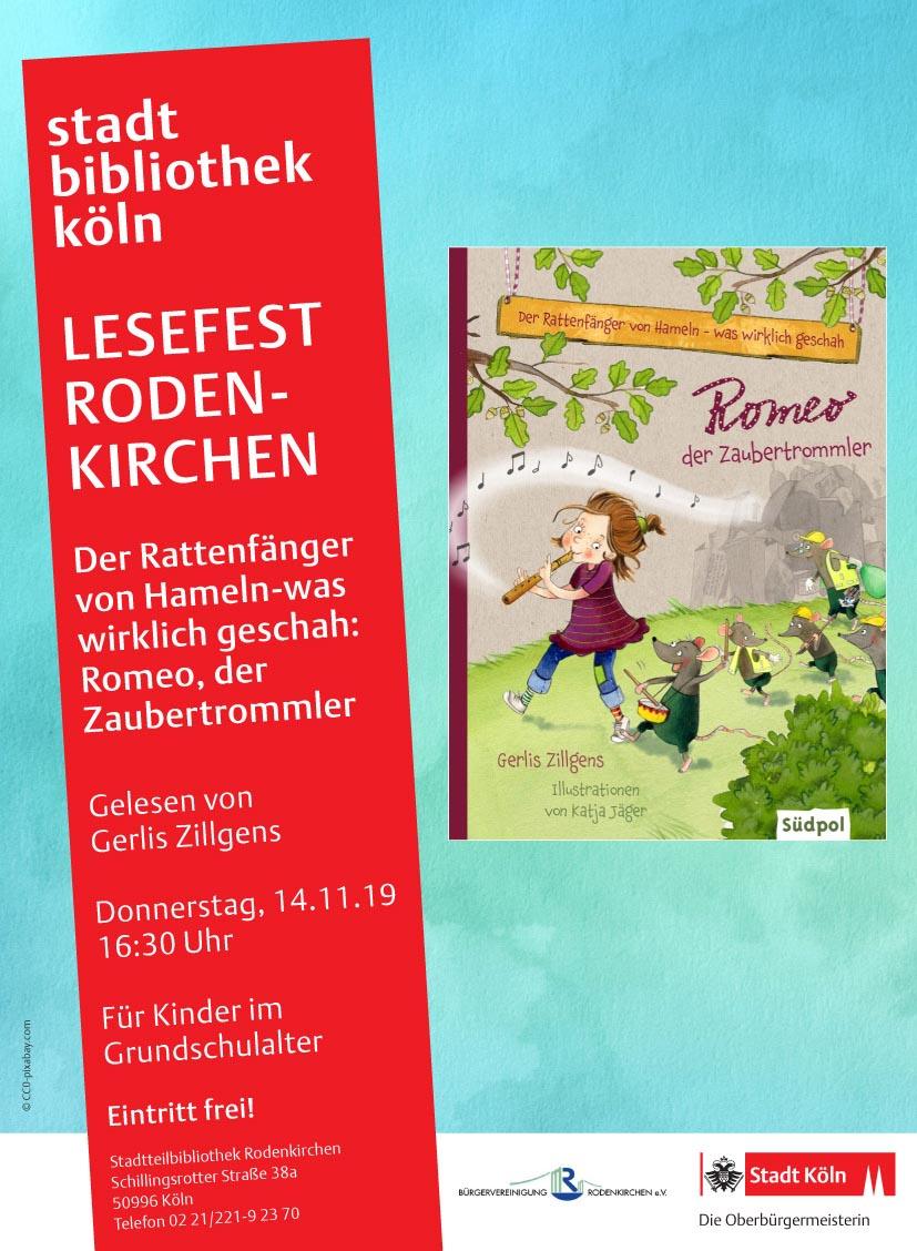 Interaktive Kinderlesung im Lesefest Rodenkirchen mit Gerlis Zillgens am 14.11.19
