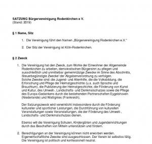 Satzung der Bürgervereinigung Rodenkirchen e.V.