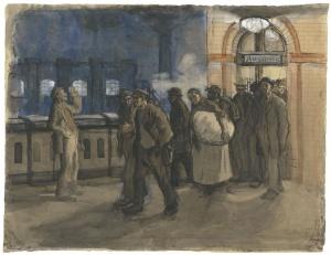 Käthe Kollwitz, Arbeiter vom Bahnhof kommend am Bahnhof Prenzlauer Allee