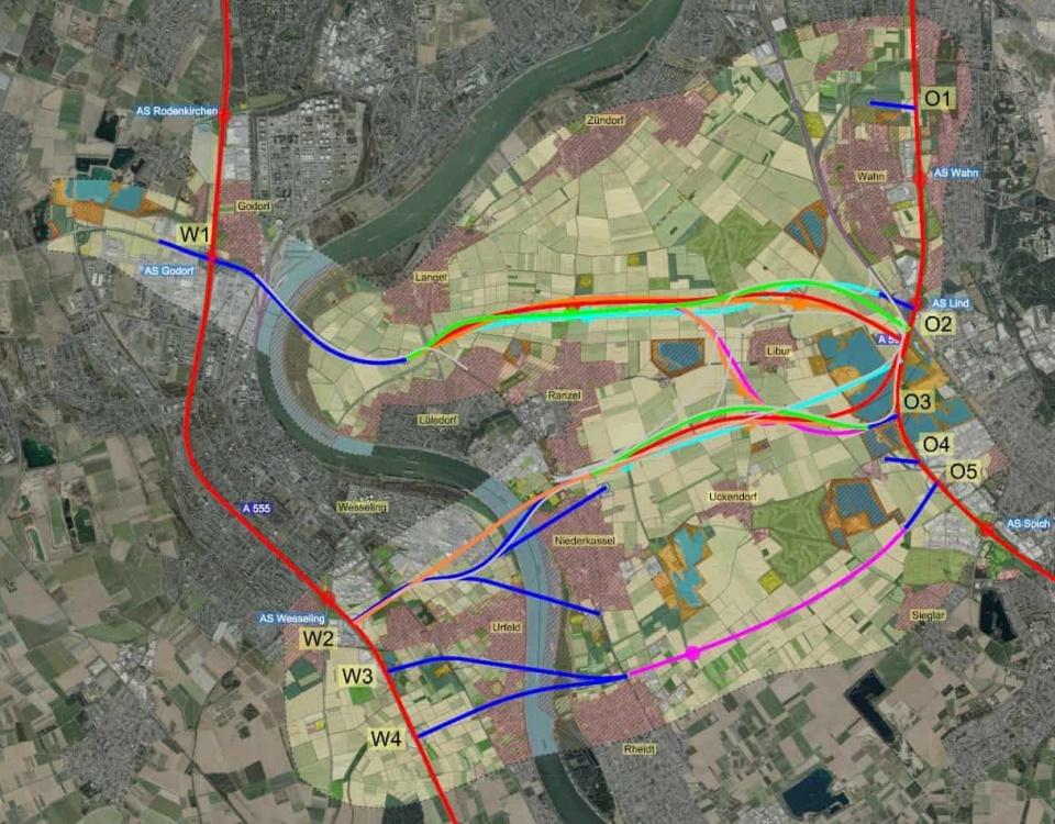 Ideen für Linienführungen der Rheinspange visualisiert