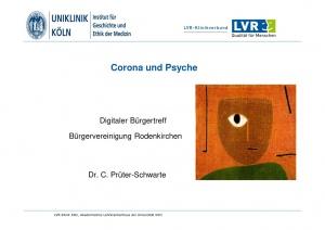 Vortrag Bürgertreff Corna und Psyche mit Dr. Prüter-Schwarte