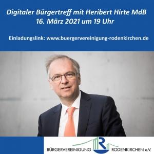 Digitaler Bürgertreff mit Prof. Hirte MdB am 16.3.21